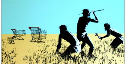 Banksy Shopping Cart Cavemen