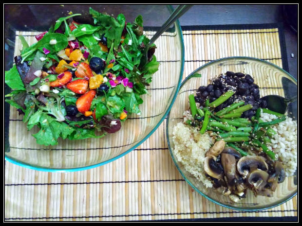 Seasoned quinoa, barley, black beans and mushrooms with a mixed salad.