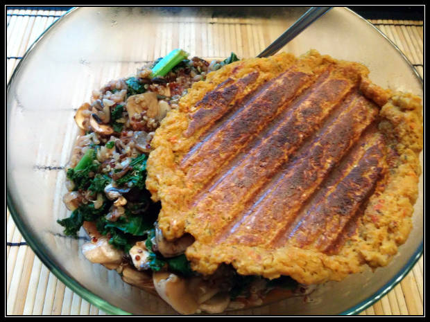 Chipotle sweet potato patty over mixed greens, mushrooms and grains.